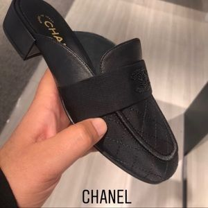 Chanel black slipon loafers